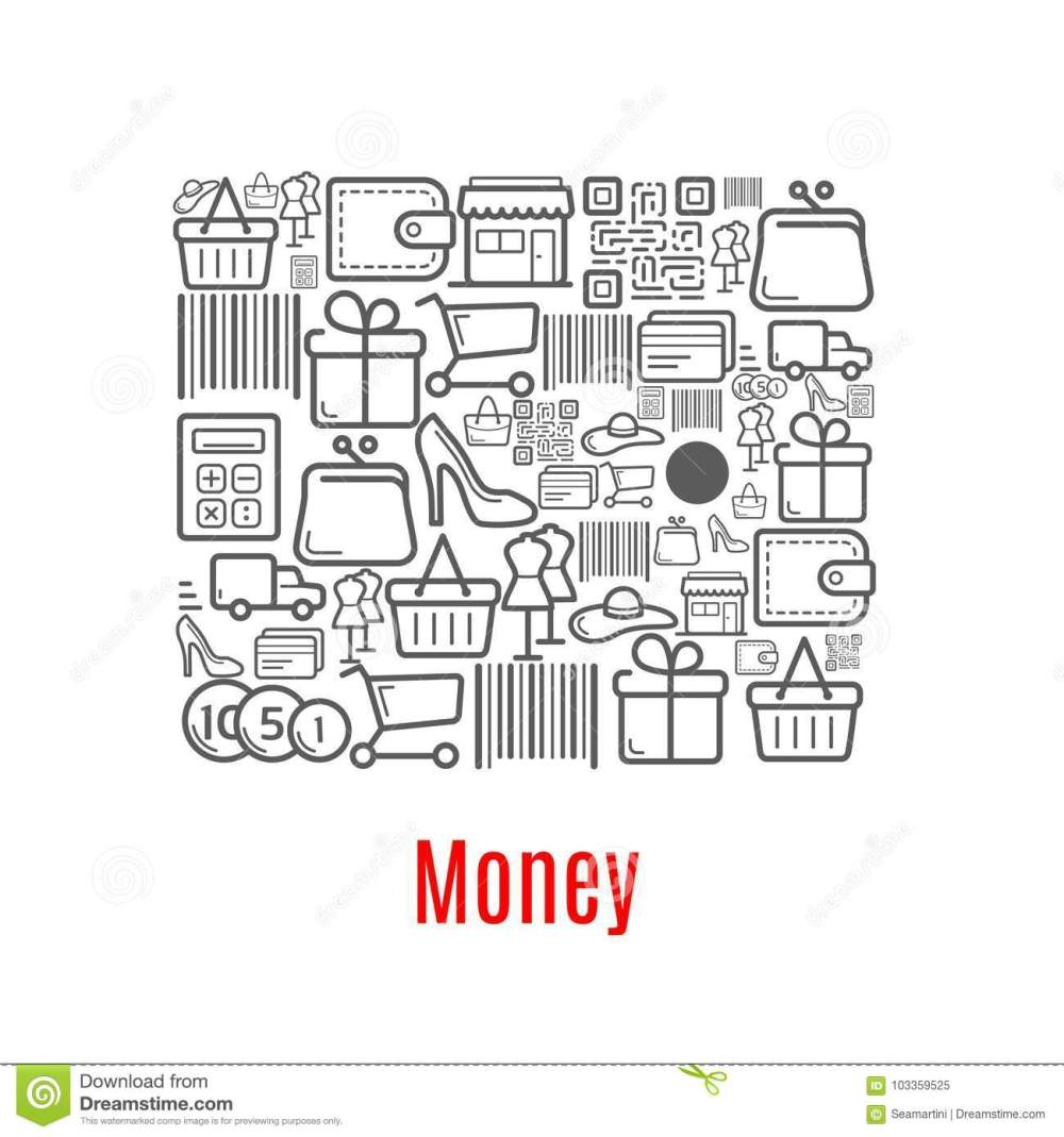 medium resolution of vector woman purse with wallet shop cart bar code and money coins on store counter dress mannequin in shoes and hat and credit card or gift