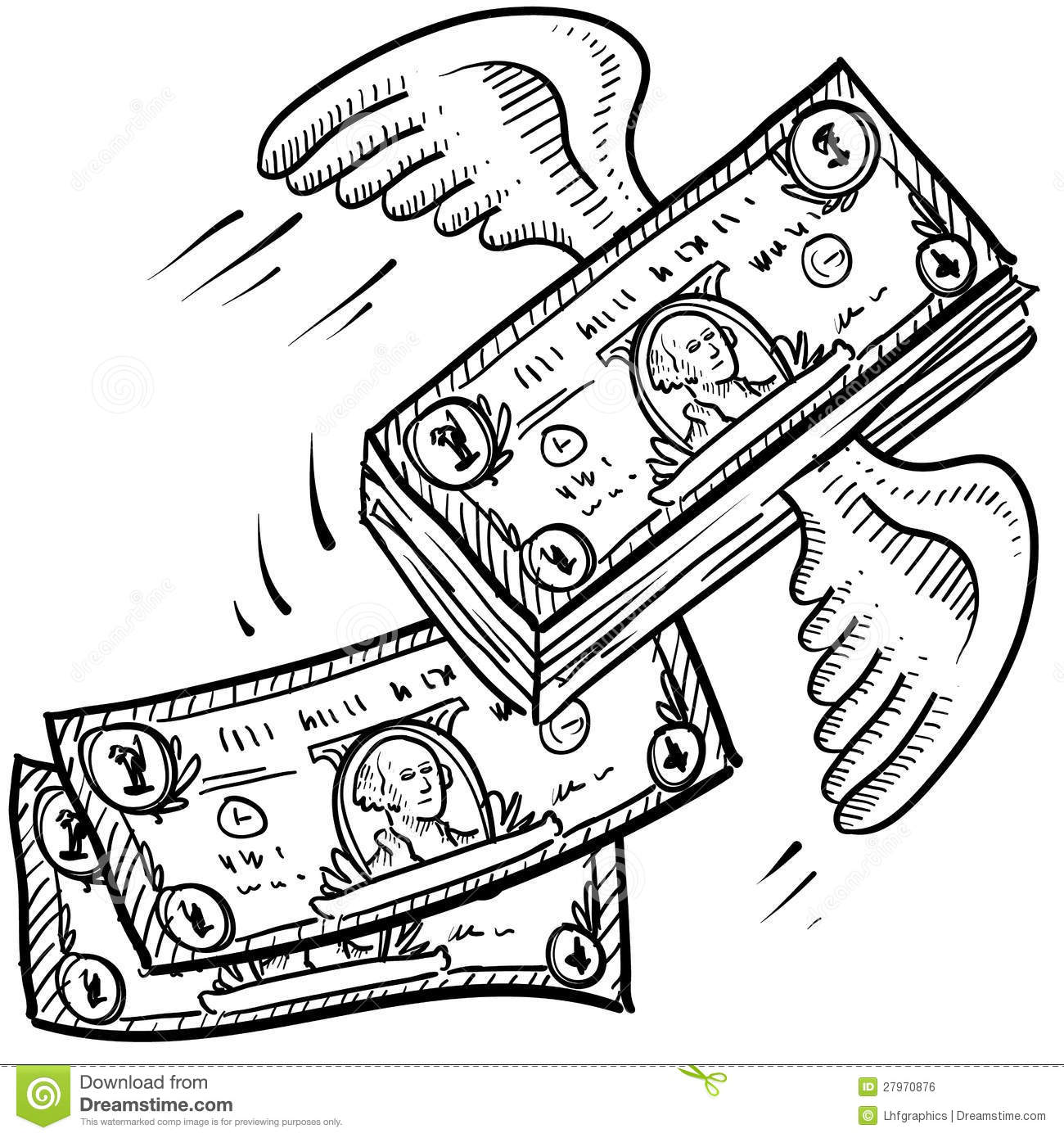 Money Takes Off Sketch Stock Vector Illustration Of