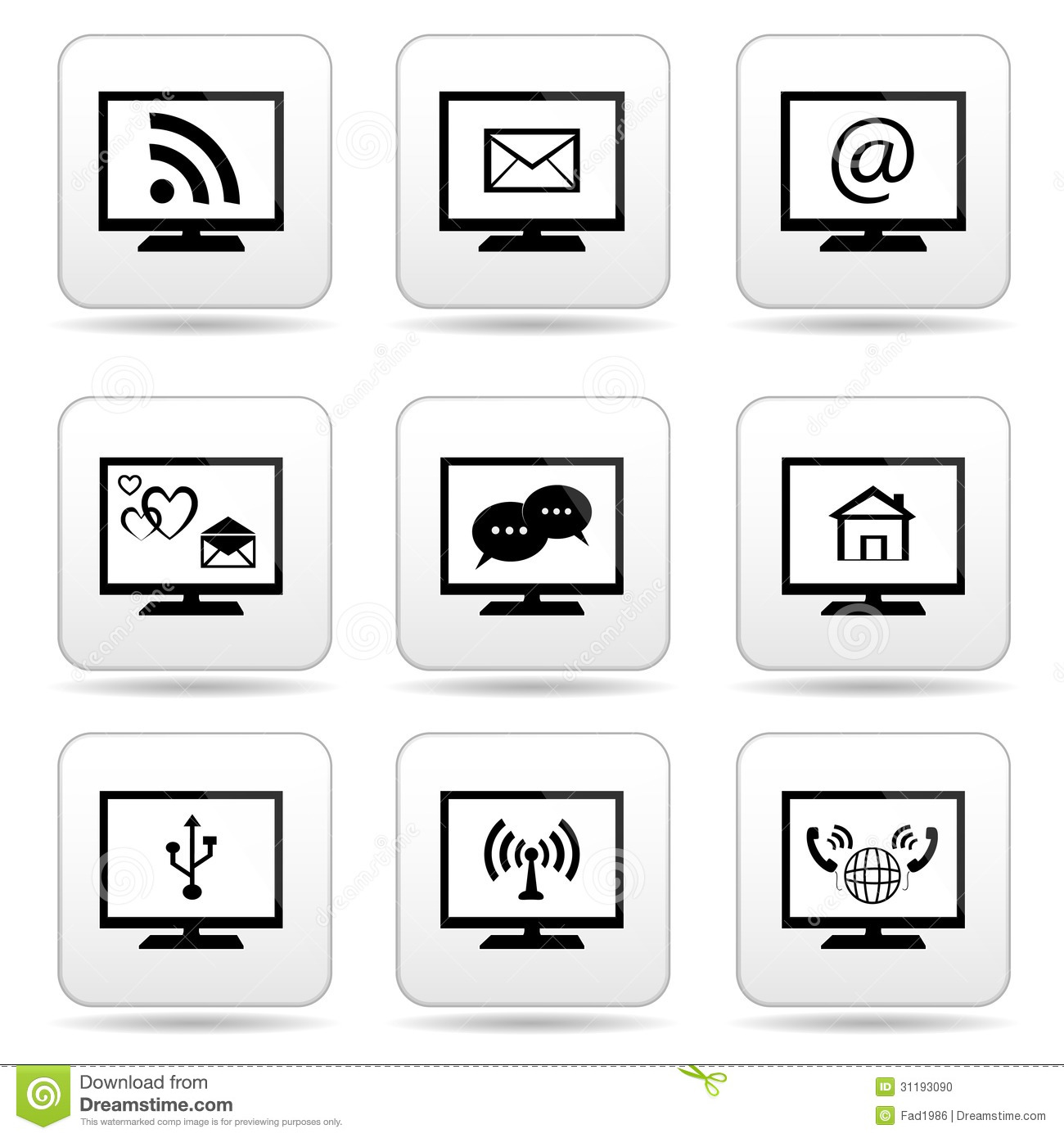 Monitor Icons With Contact Symbols Stock Photo