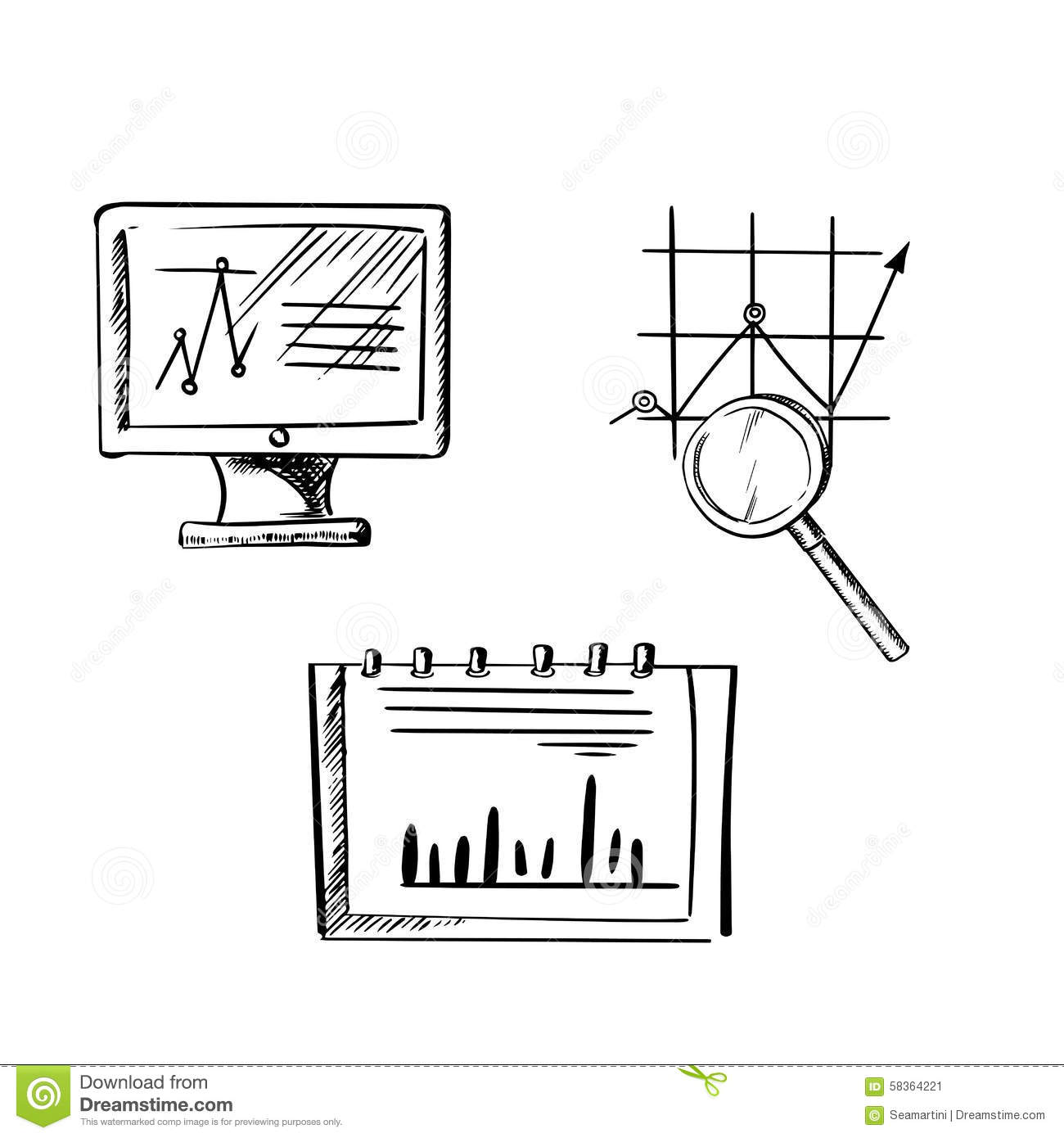 Monitor Notebook And Business Chart Sketches Stock Vector