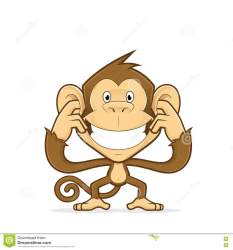 ears closing monkey cartoon clipart character illustration preview vector