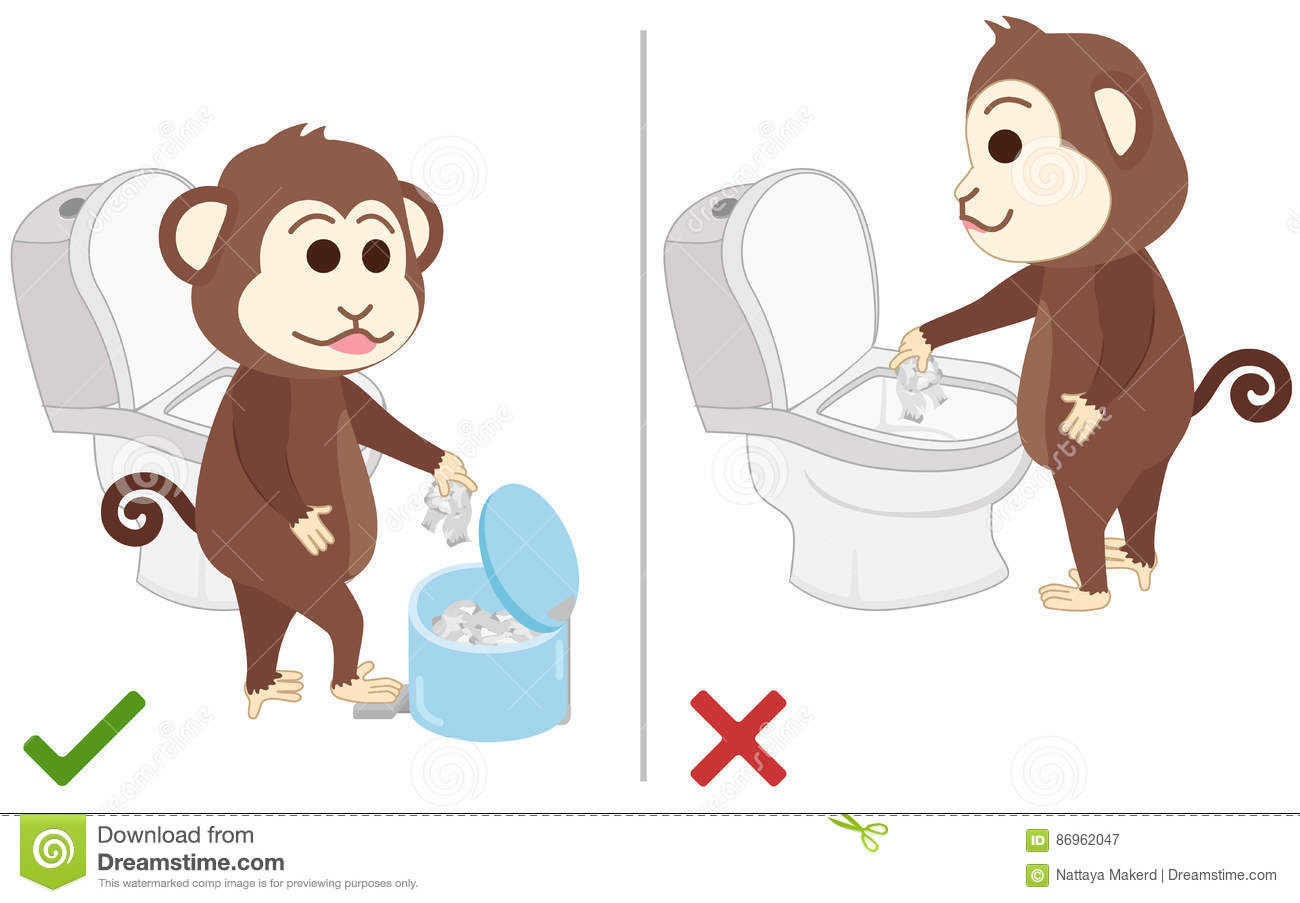 Monkey Feel Good And Bad Practice In Use Toilet. Stock