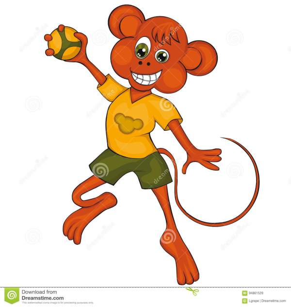 Monkey Plays Handball. Cartoon Style. Clip Art