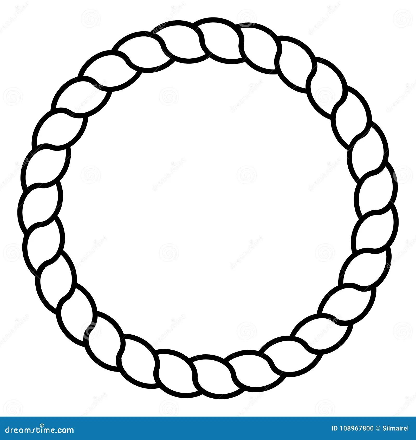 Monochrome Black And White Circle Rope Frame Line Art