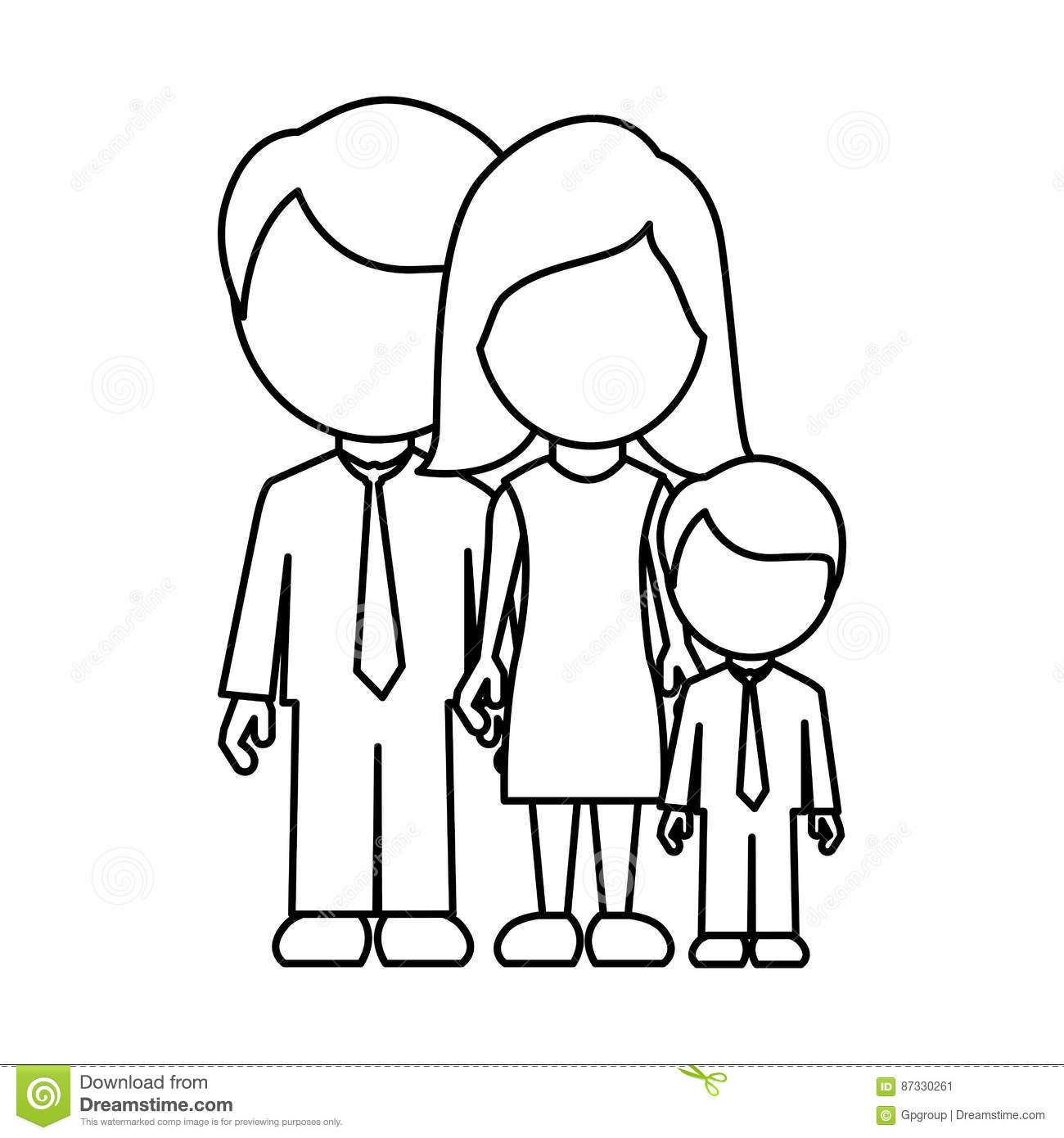 Monochrome Contour Faceless With Dad Mom And Son In Formal