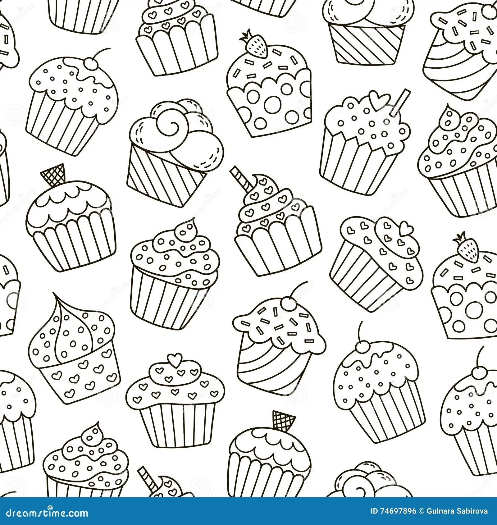 Monochrome Cupcakes Seamless Pattern Stock Vector