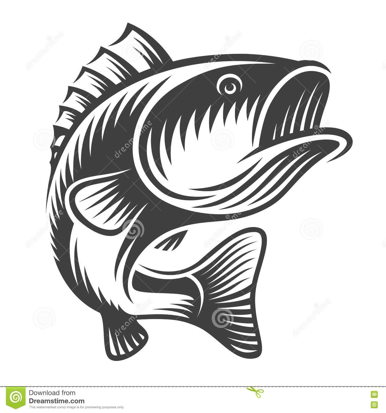 Monochrome fish bass logo stock vector. Illustration of
