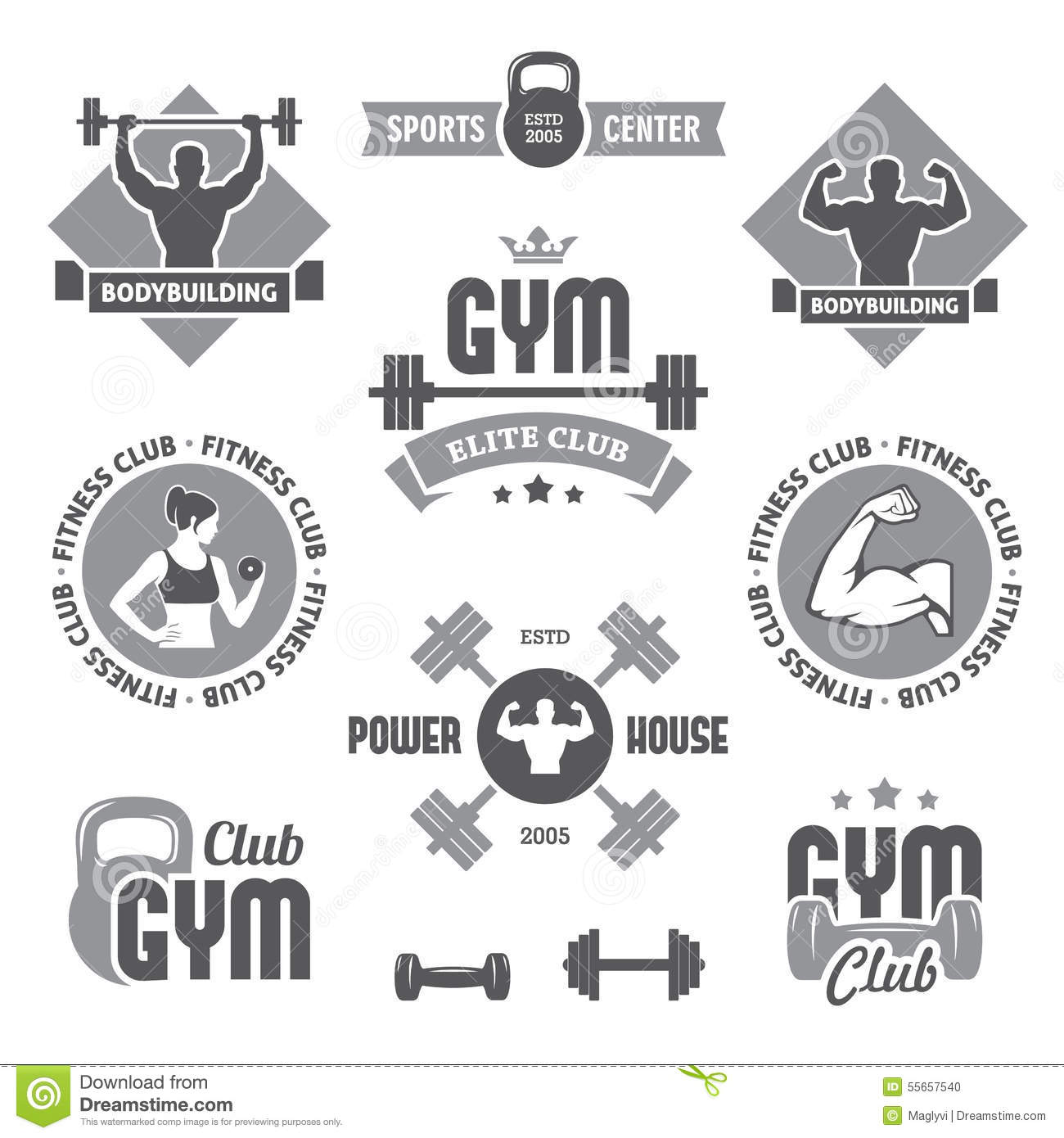 Monochrome Gym Labels Stock Vector