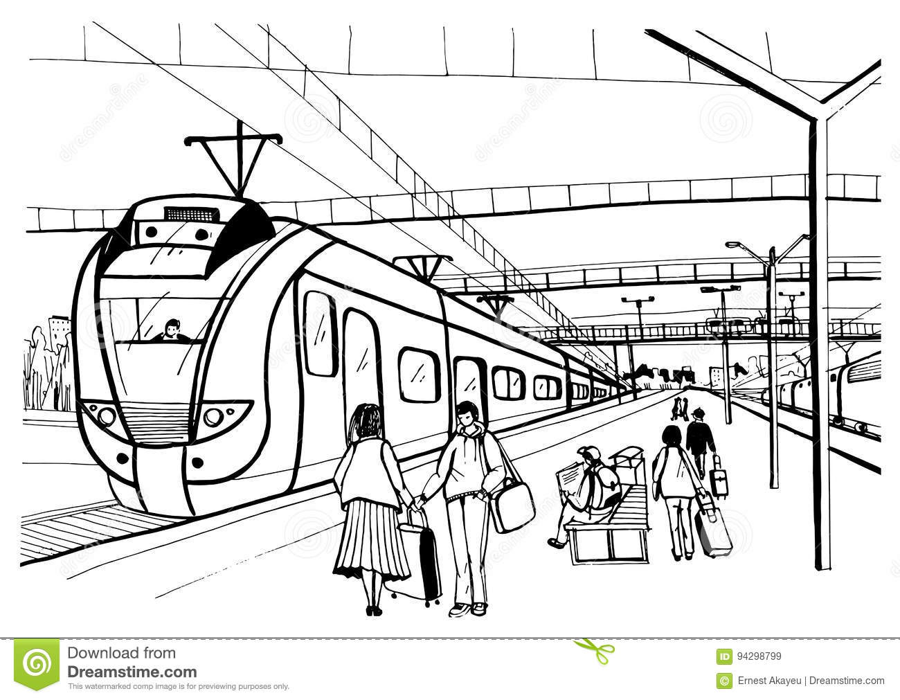 Monochrome Horizontal Sketch With People Passengers