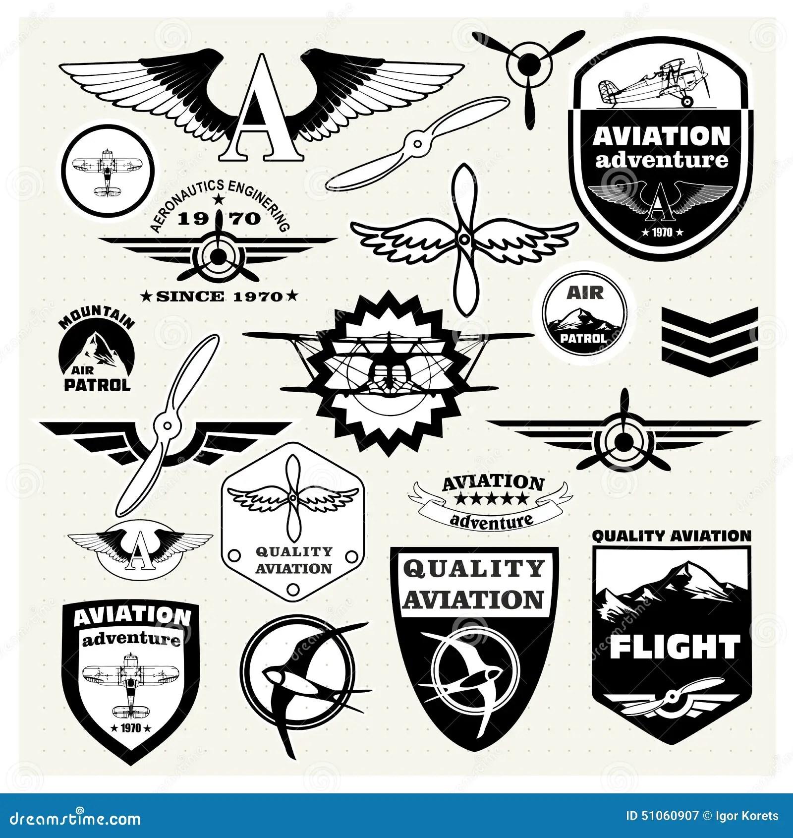Monochrome Mega Set Of The Theme Aviation Stock Vector