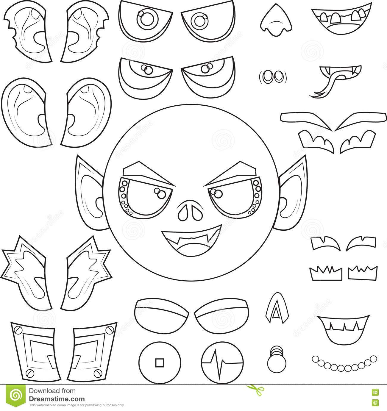 Monster Body Parts Clip Art Sketch Coloring Page