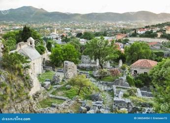 montenegro medieval background town ruins hills bar valley