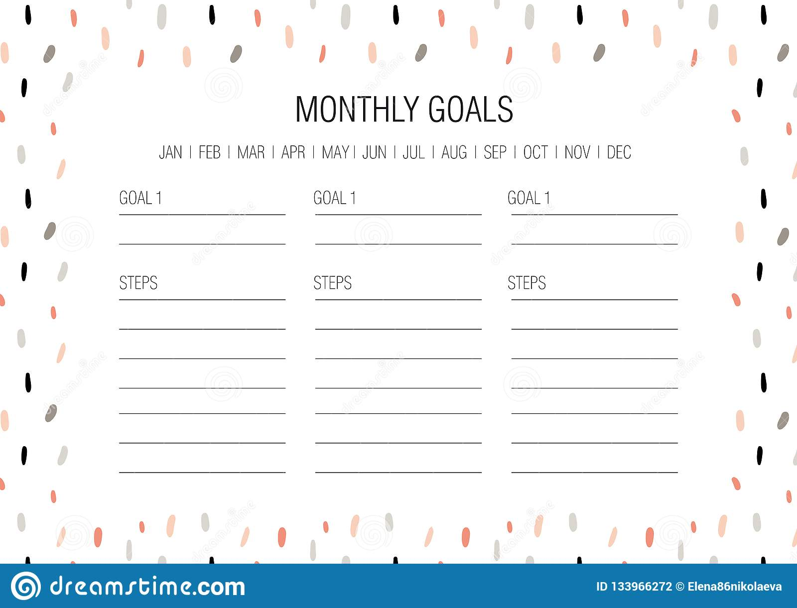 Monthly Goals Template Stock Vector Illustration Of
