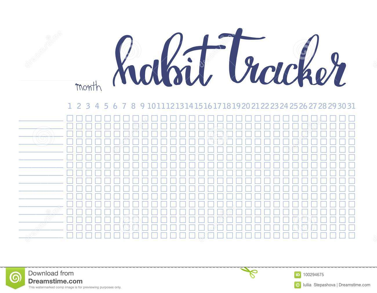 Monthly Planner Habit Tracker Blank Template Stock Vector