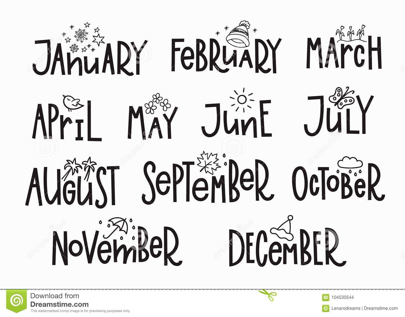 Months Year Calendar Lettering Typography Stock