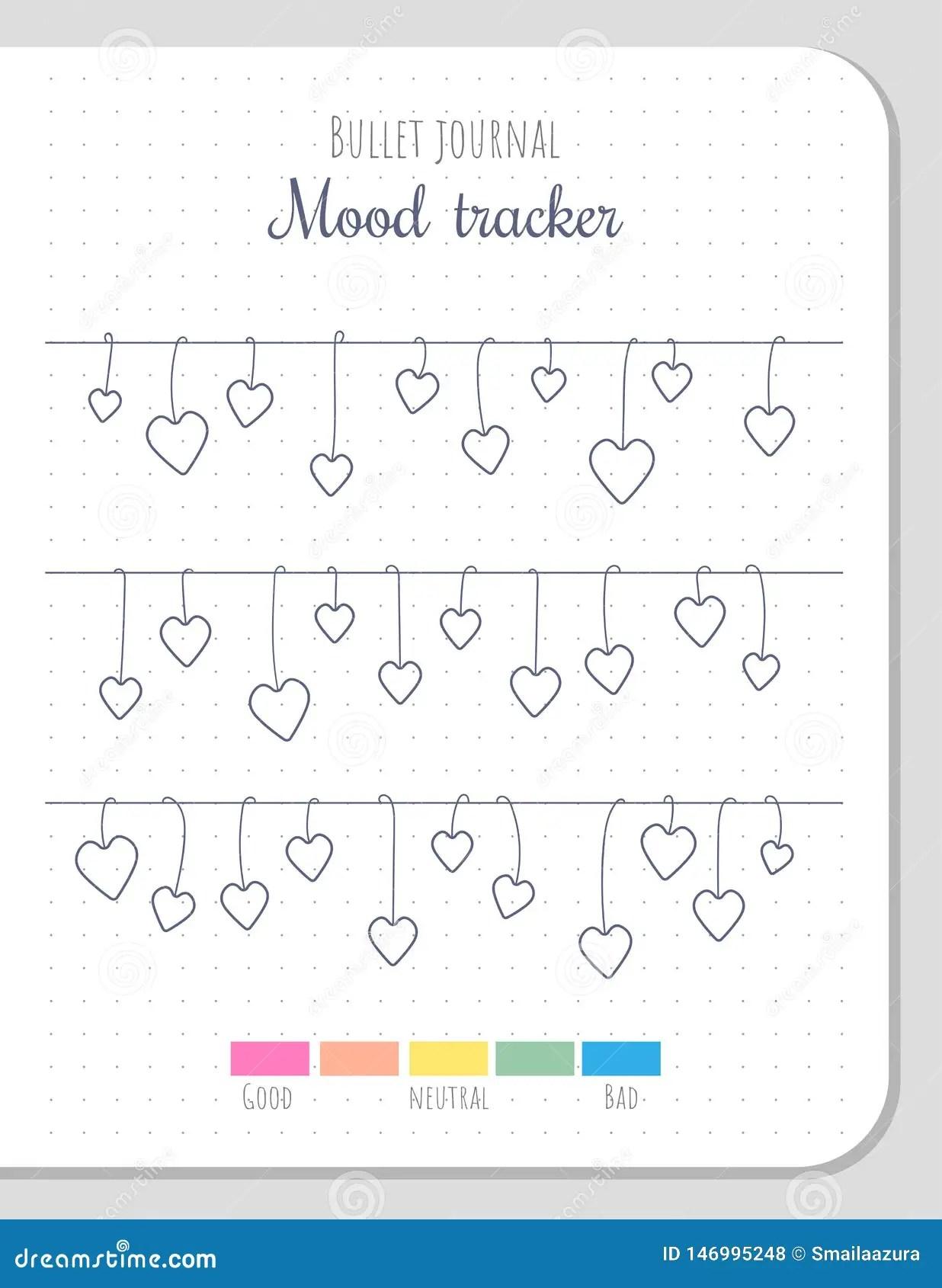 Mood Tracker Blank Template For Bullet Journal Stock