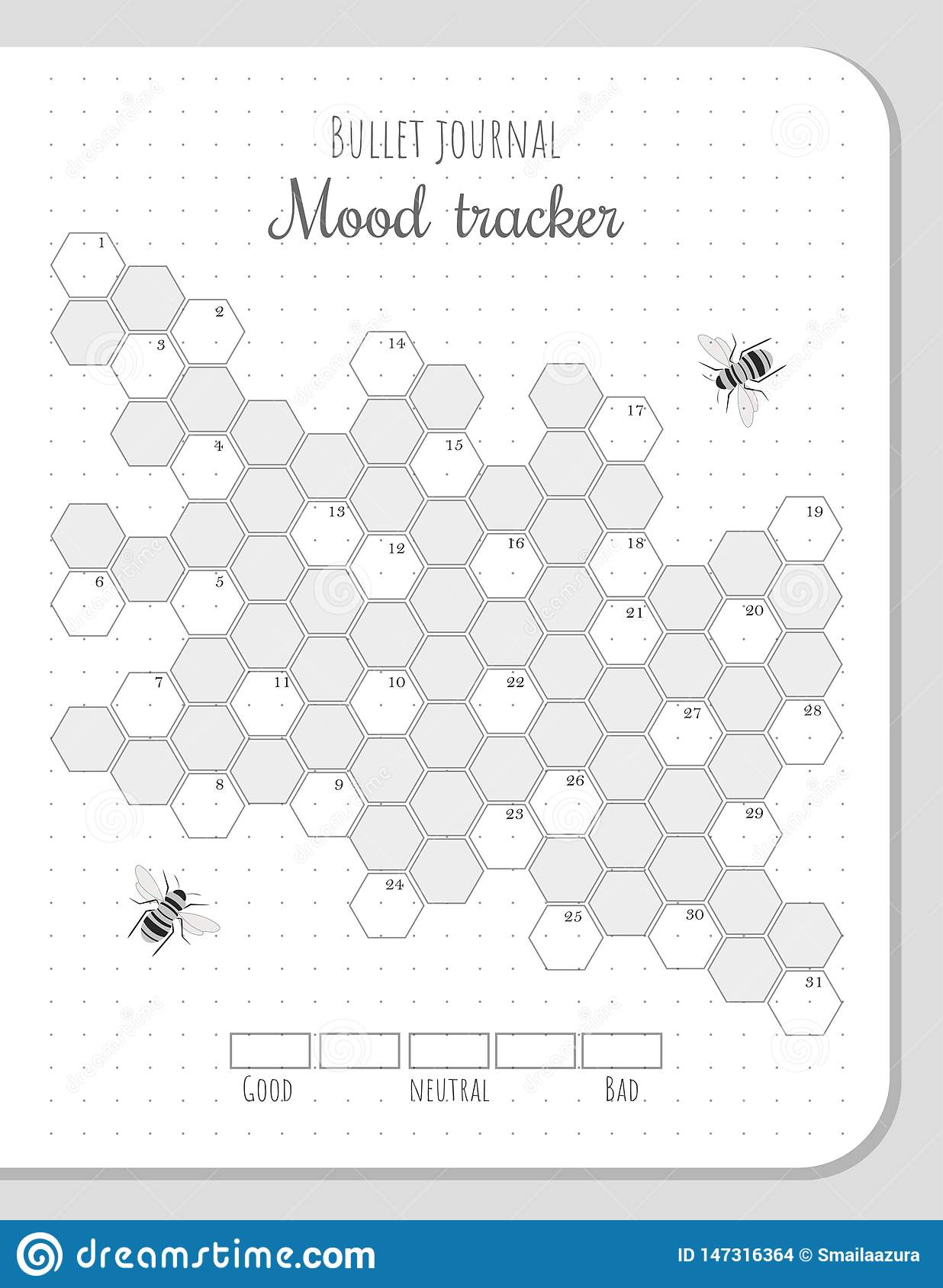 Mood Tracker With Honeycombs For 31 Days Of A Month Stock