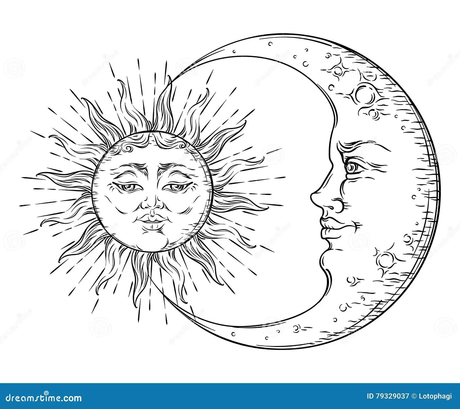 Moon Antike Gezeichnete Kunstsonne Und Halbmond Der Art