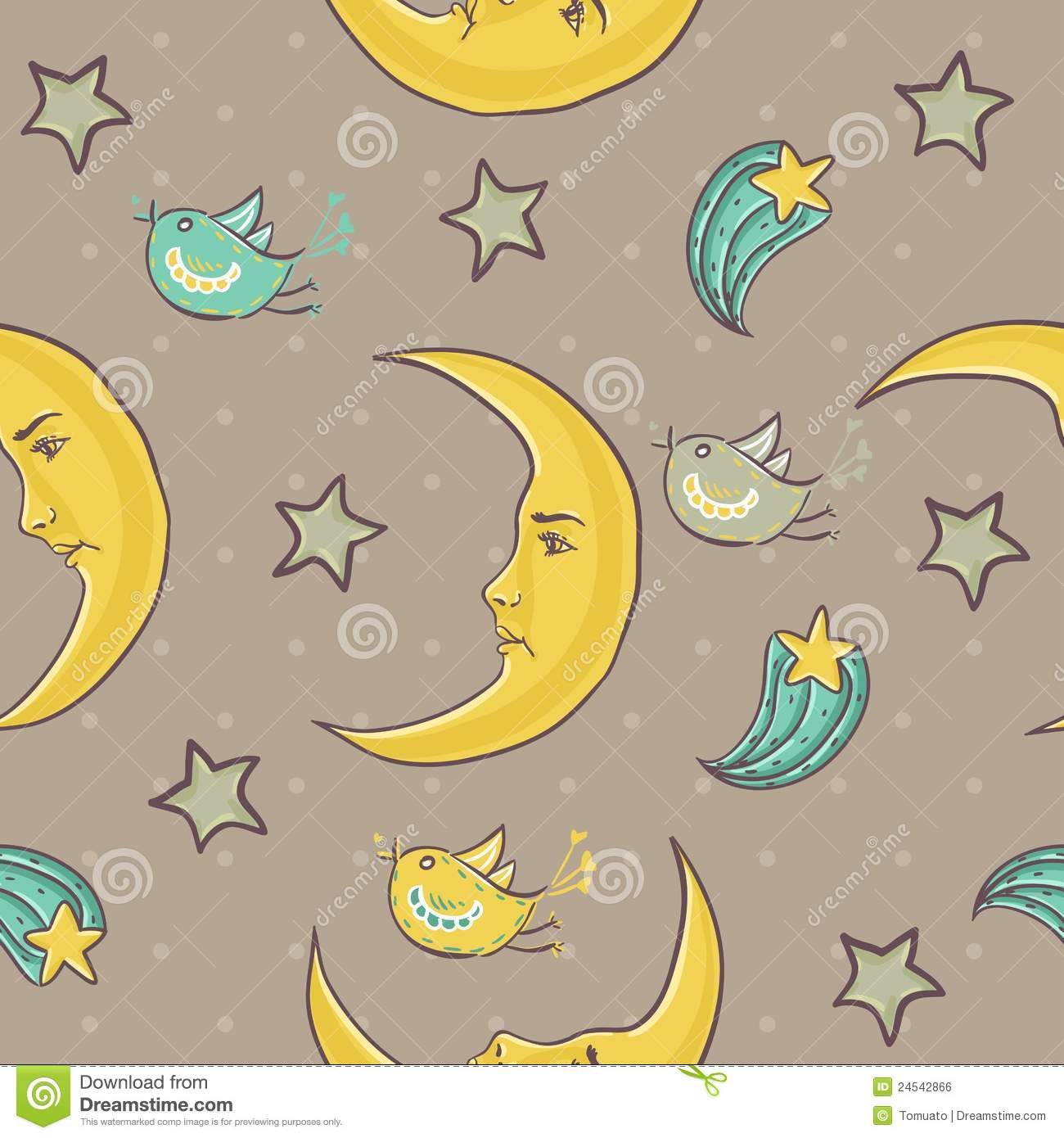 Moon And Stars Seamless Pattern Stock Vector