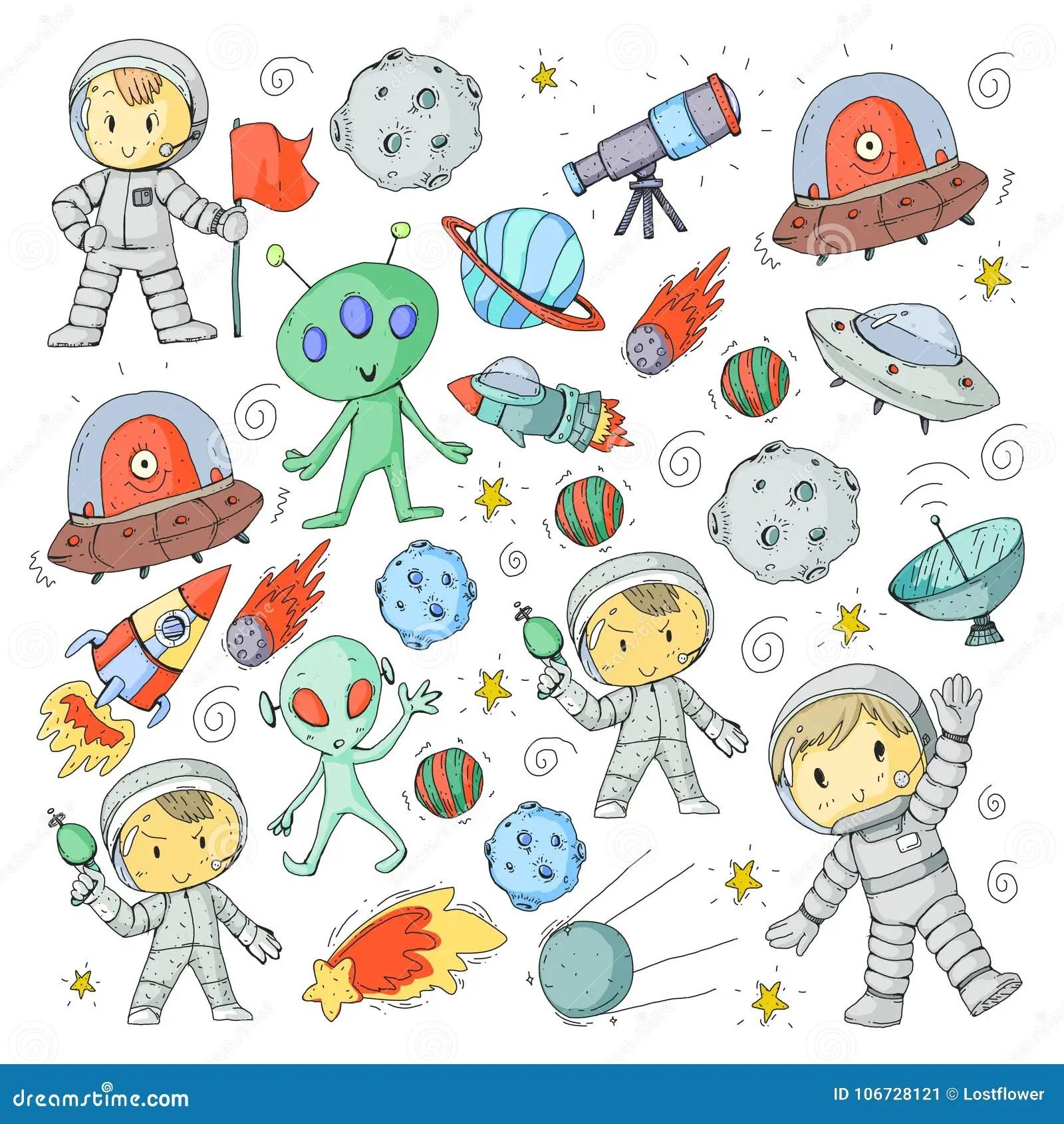 Moon Surface Kindergarten Children Play Space Exploration