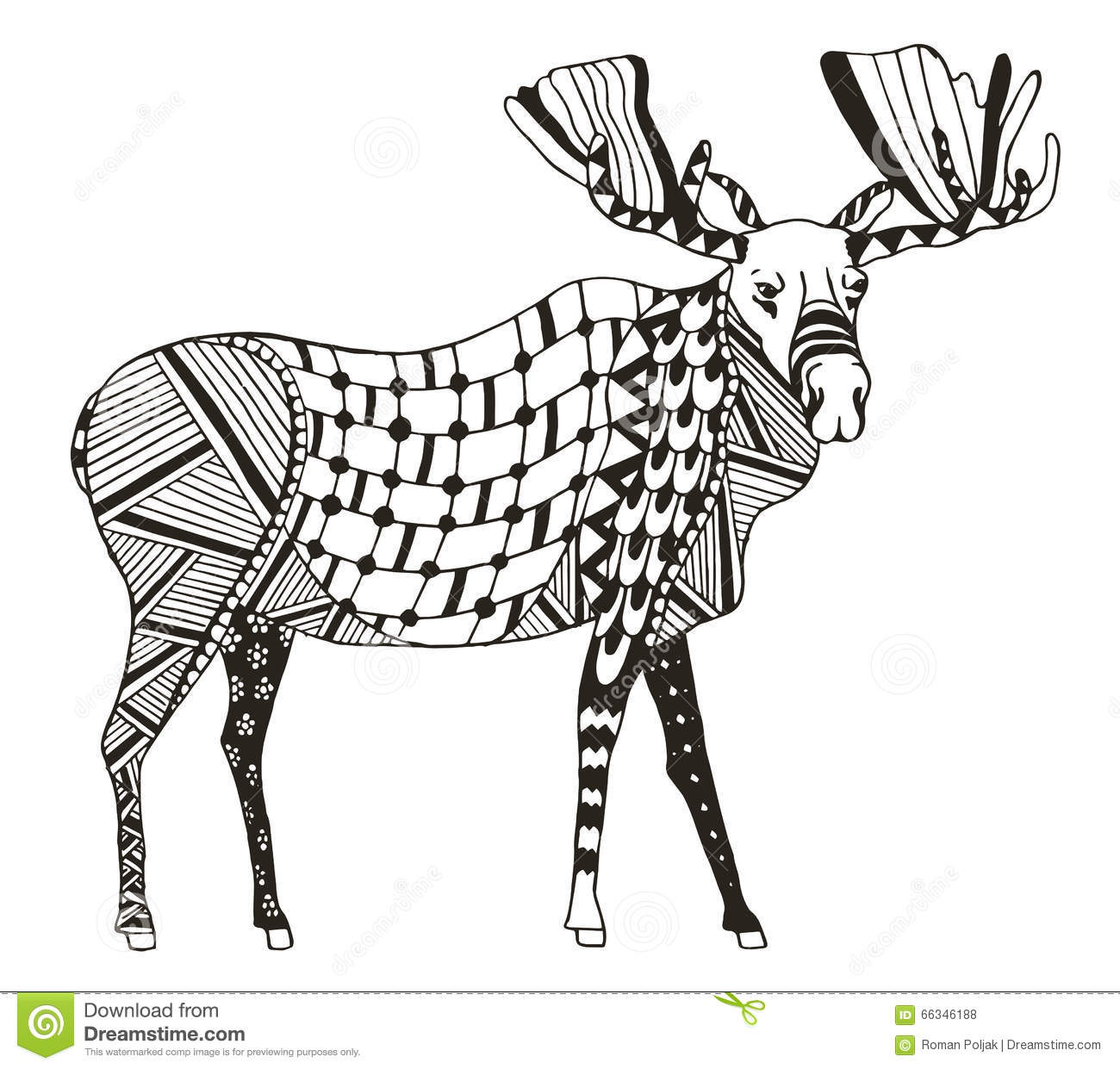 Moose Zentangle Stylized Vector Illustration Freehand Pencil Stock Vector