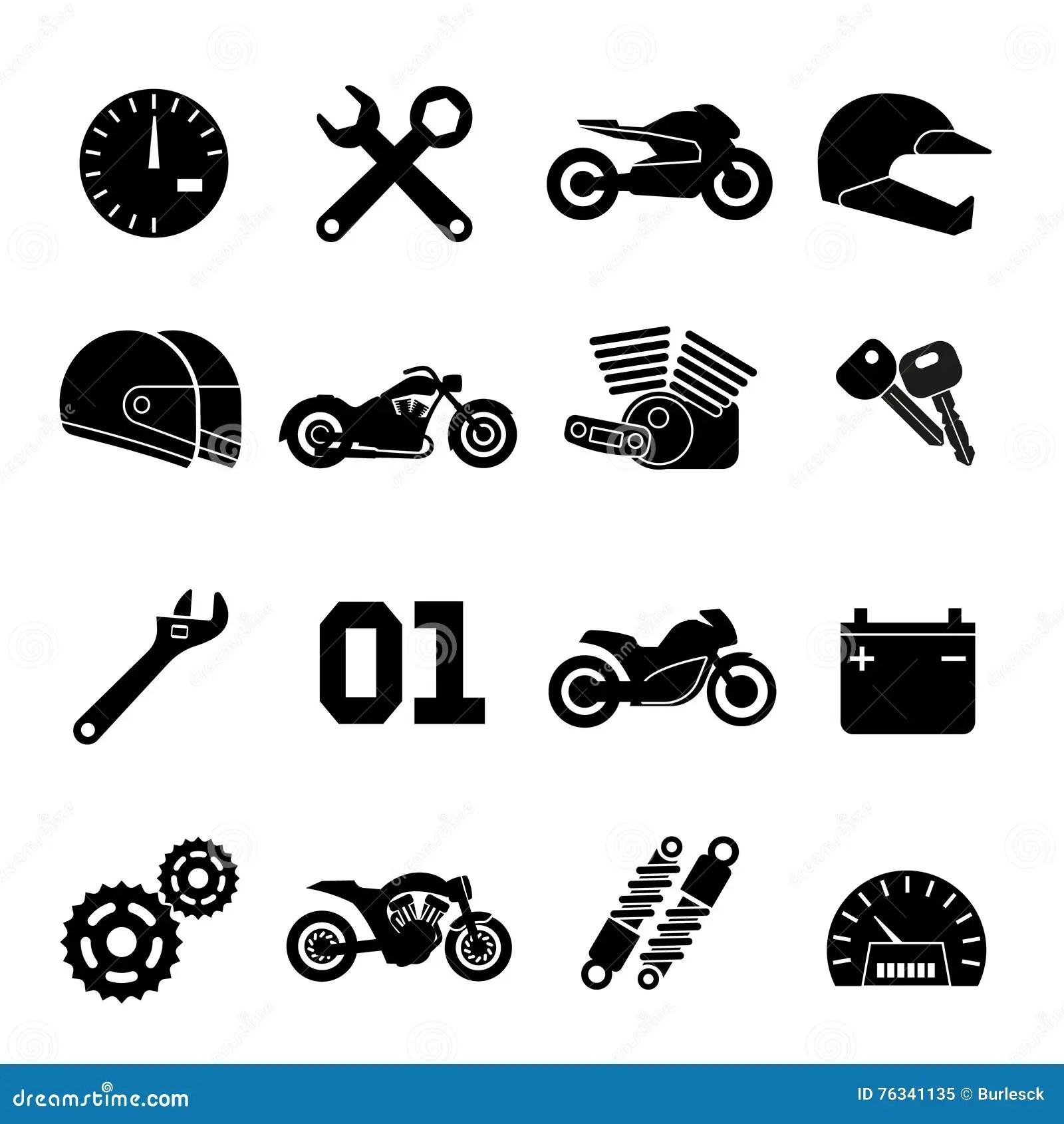 Moped Motorcykellopp Och Reservdelvektorsymboler Vektor Illustrationer