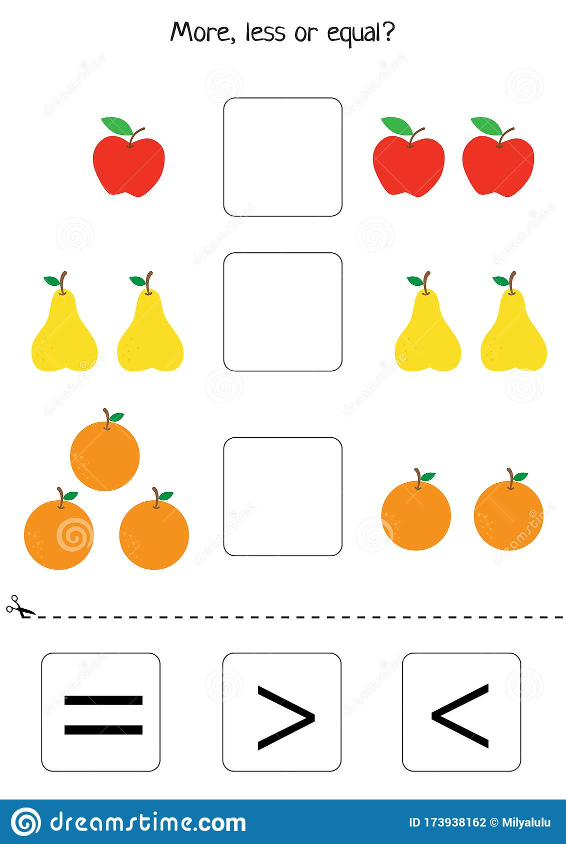 More Or Less Or Equal Counting Game Set Of Fruits