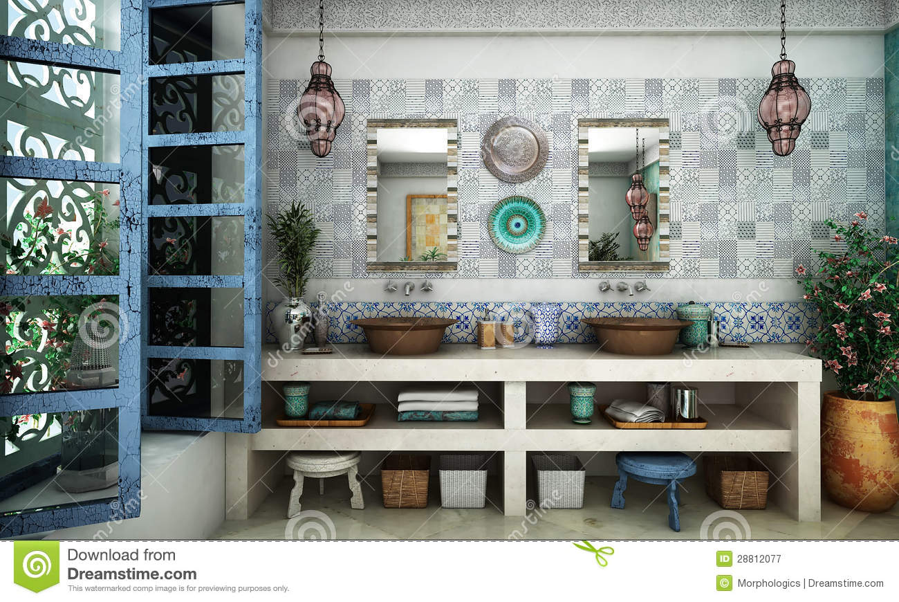 Moroccan bathroom stock image Image of bathroom glass  28812077