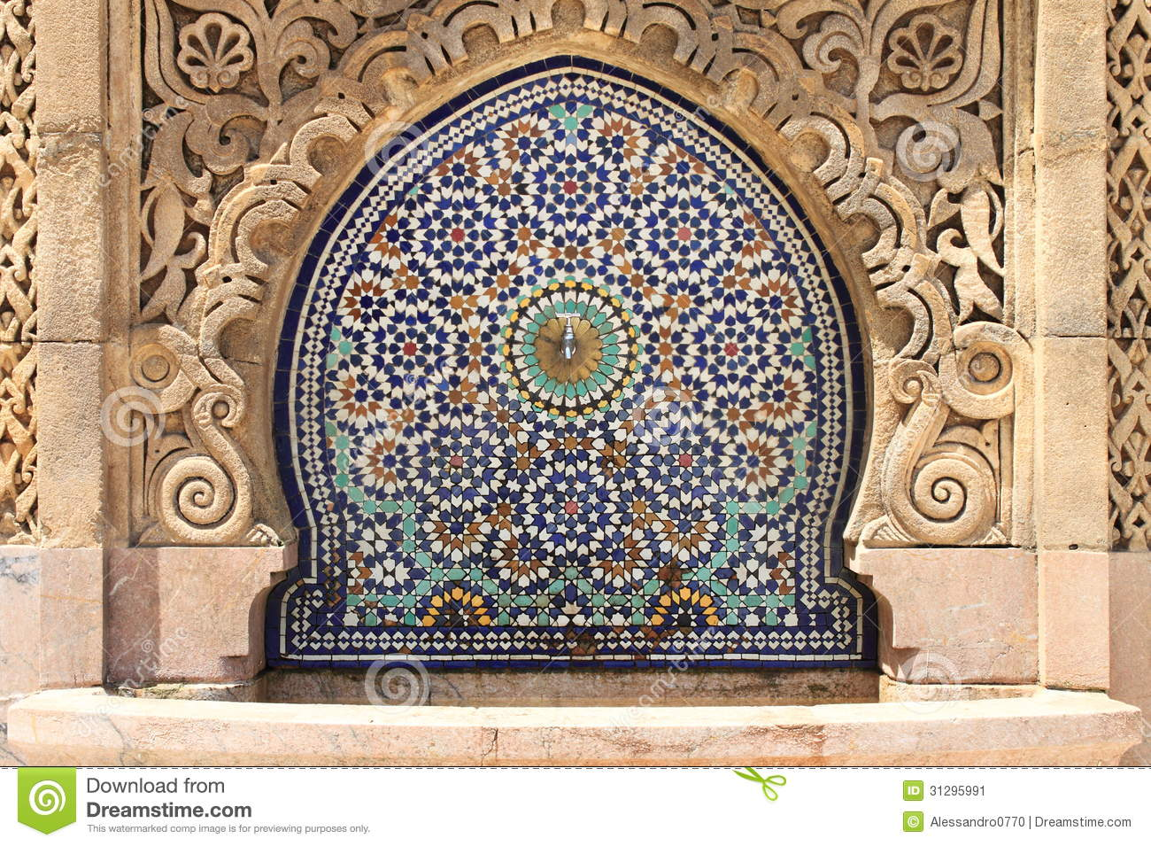 Moroccan Fountain With Mosaic Tiles Stock Image  Image
