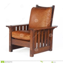 Arts And Crafts Style Chair Pottery Barn Dining Chairs Wood Morris With Leather Cushions Editorial Stock Photo