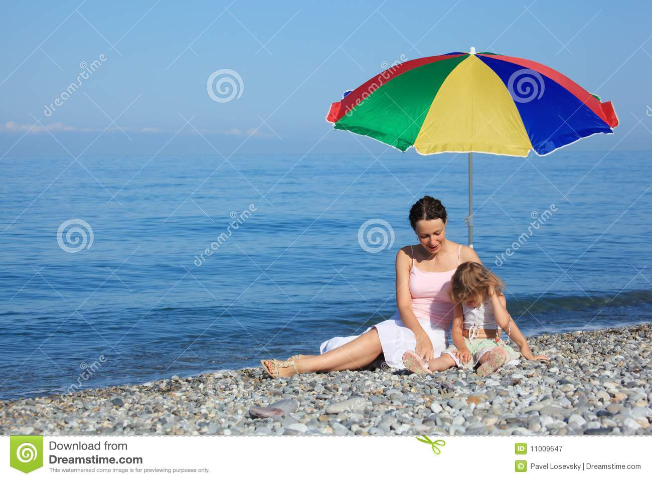 children s beach chair with umbrella small portable mother child under on stock image