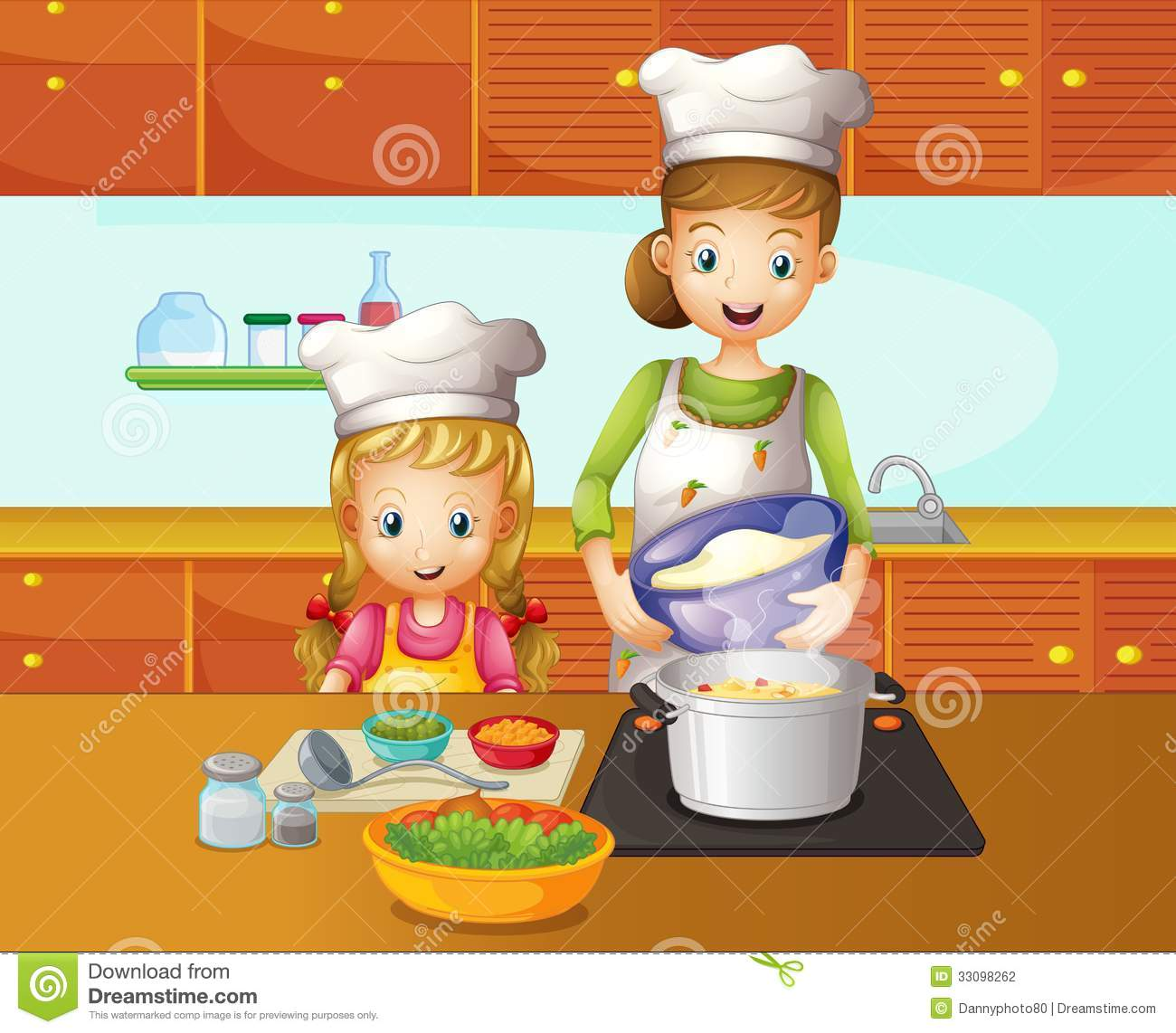 A Mother And Daughter Cooking Stock Vector  Illustration