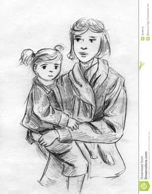 mother daughter pencil sketch holding hand hands drawn woman illustration