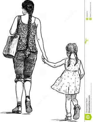 daughter mother drawing woman vector walk illustration