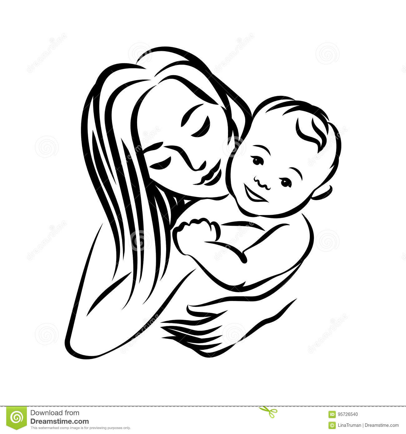 Mother With Her Baby Stylized Outline Symbol Motherhood
