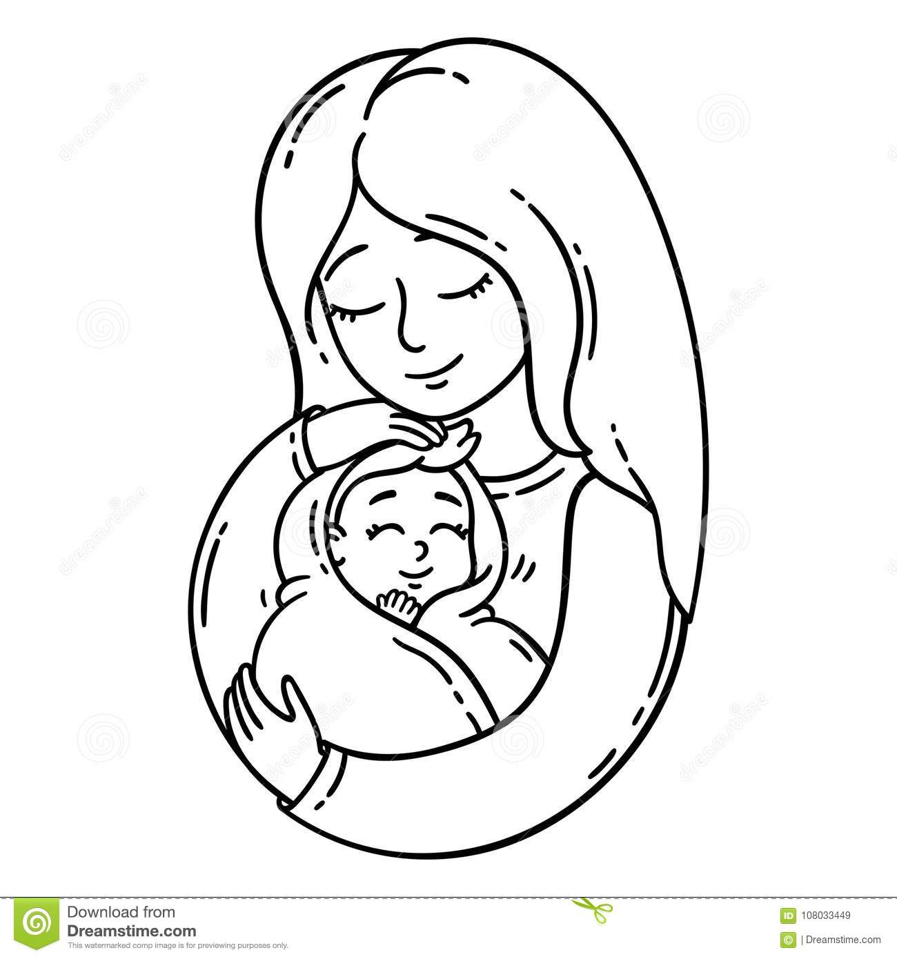 Mother Holding Baby Isolated Objects On White Background