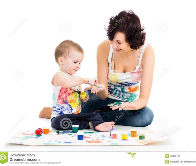 Mom With Child Boy Painting