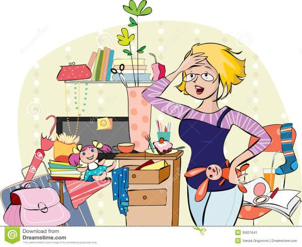 Mother in a messy room stock vector Illustration of brush