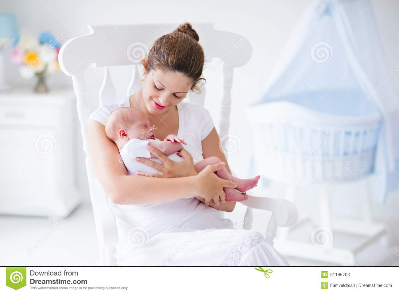 rocking nursing chair plastic clear covers mother and newborn baby in white nursery stock photo - image: 61195703