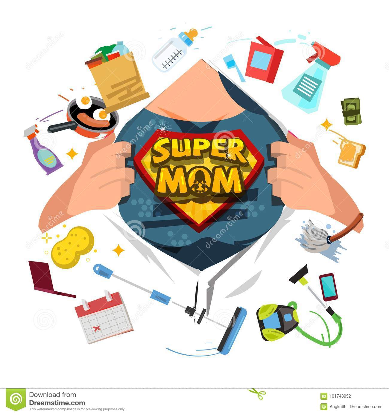 Mother Open Shirt To Show Super Mom Icon With Housework Objects Stock Illustration Illustration Of Multitasking Beauty 101748952