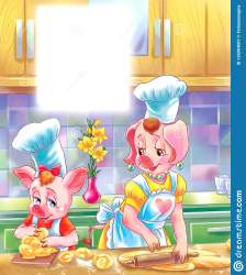 pig mother piglet fairy bakery tale making kitchen cartoon drawing