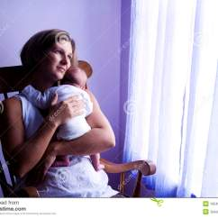 Baby Sleeping Chair High Stool Ikea Mother Rocking Newborn By Window Stock Photo Image