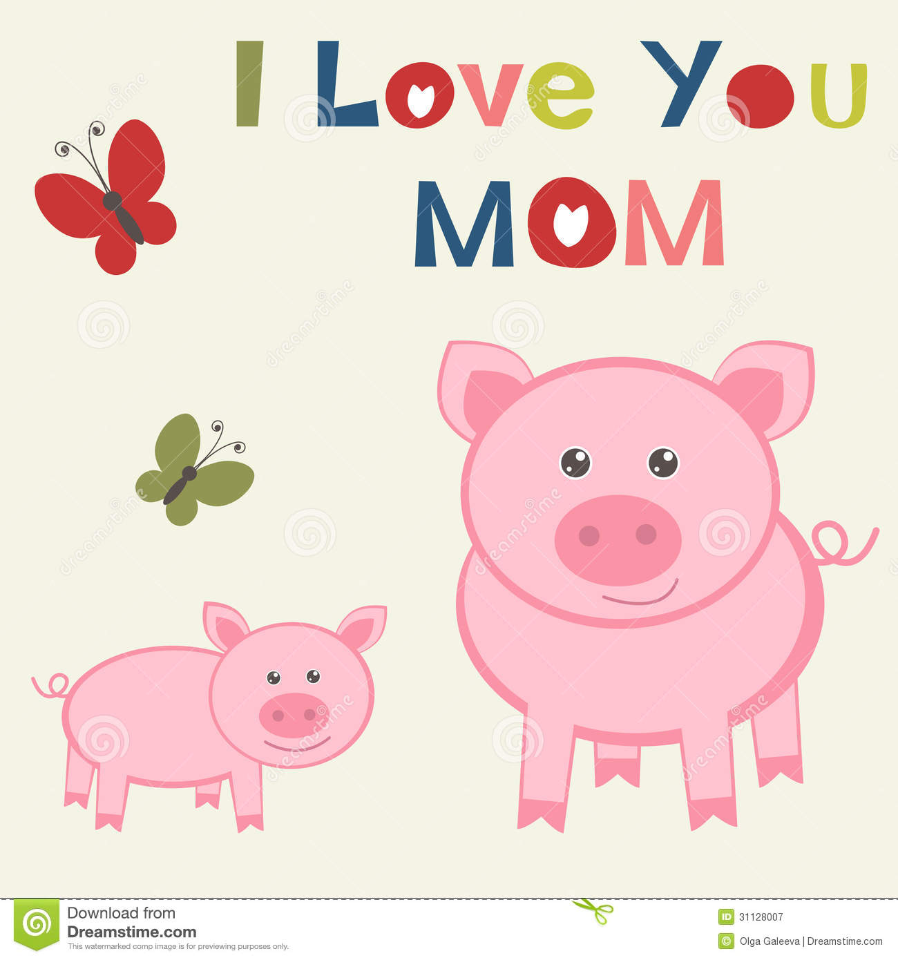 hight resolution of mother s day card with pig and piglet