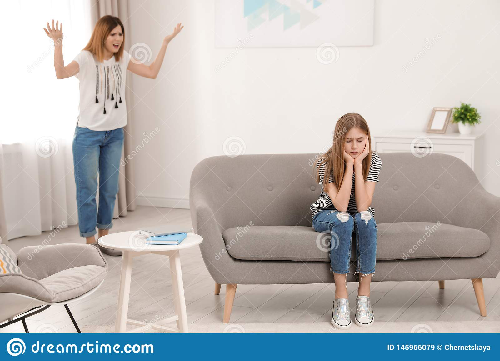 Mother Scolding Her Teenager Daughter Stock Image