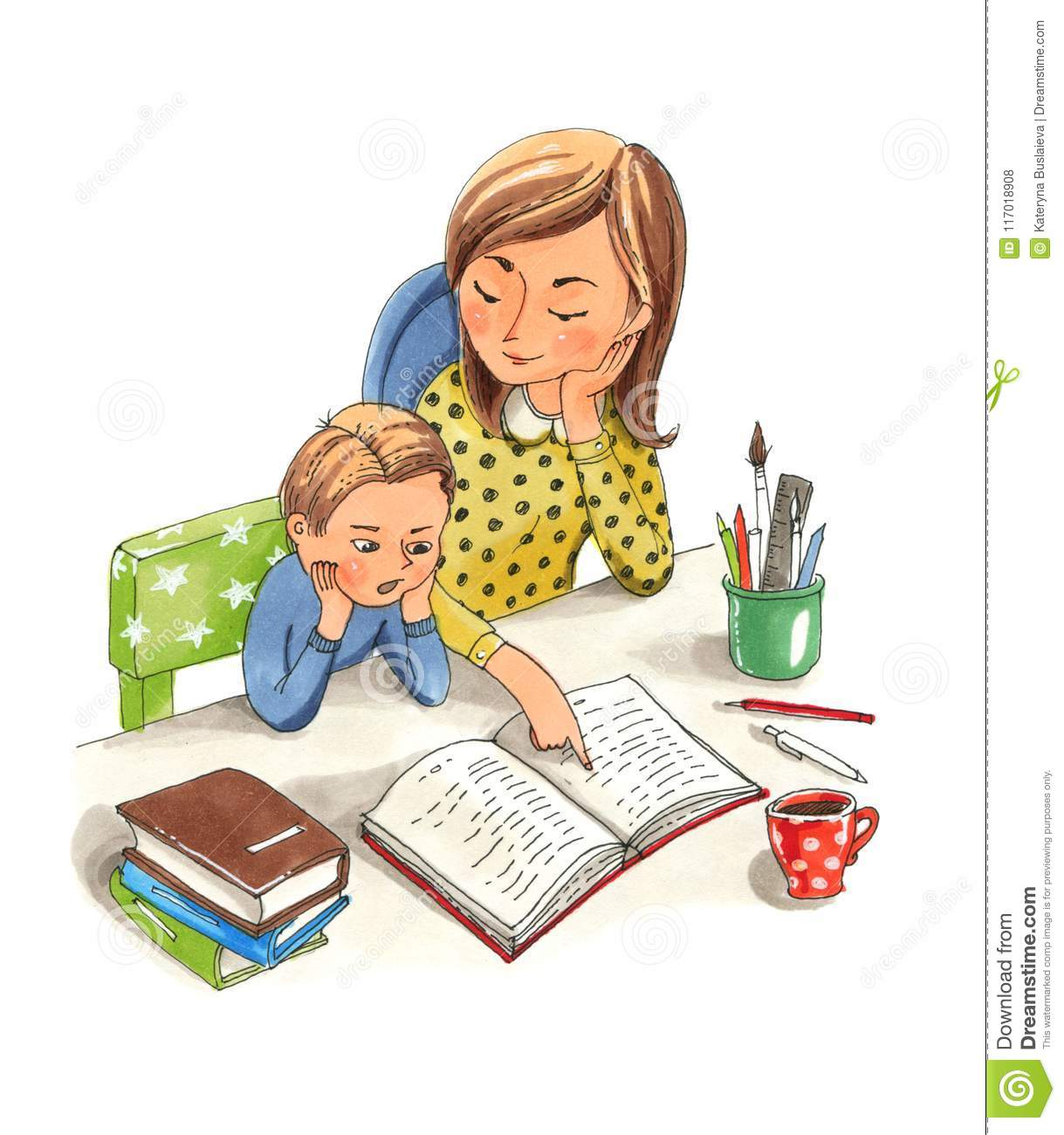 Mother Teaching Her Little Son Home Education Stock