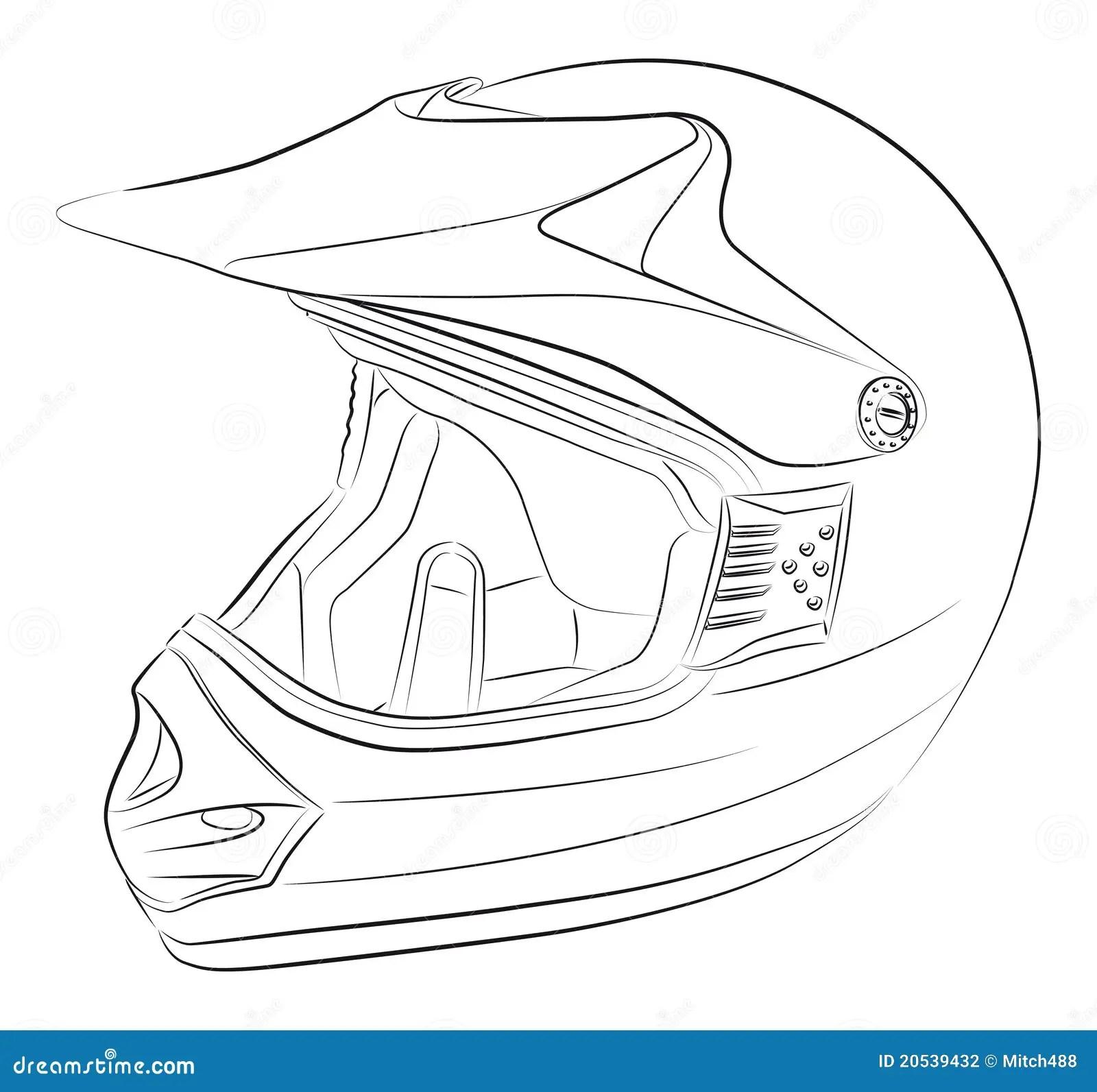 Motocross Helmet Drawing Stock Vector Illustration Of