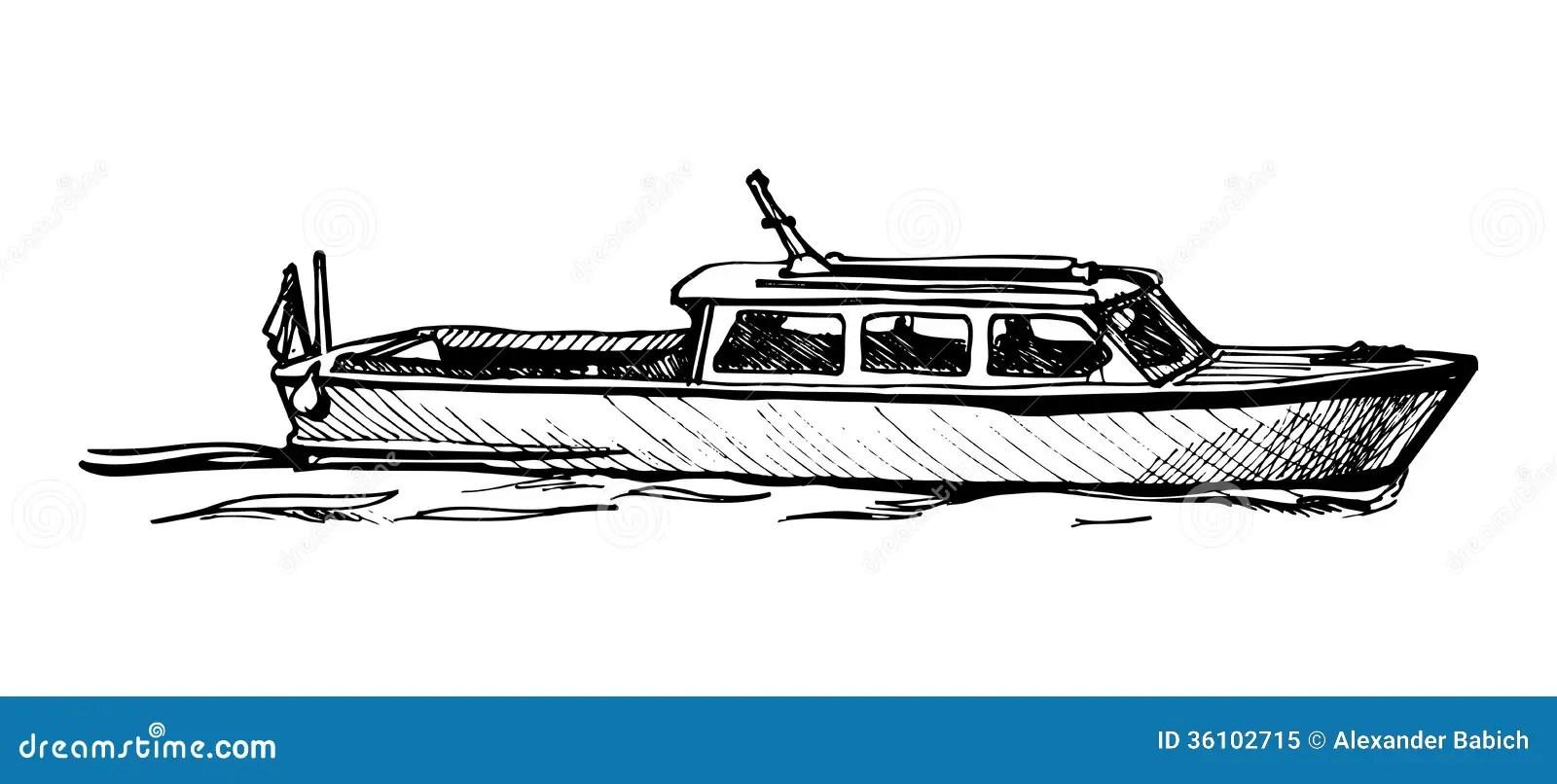 Motor boat. stock vector. Illustration of taxi, sail