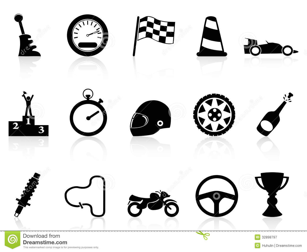 Motor Race Icons Set Royalty Free Stock Photography