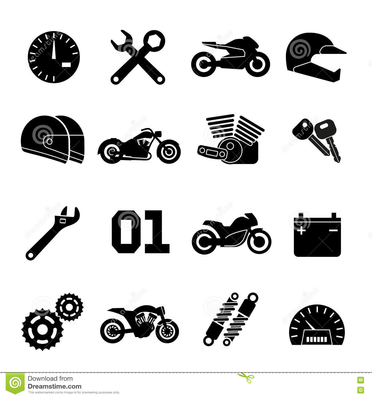 Motorbike Motorcycle Race And Spare Parts Vector Icons Stock Vector