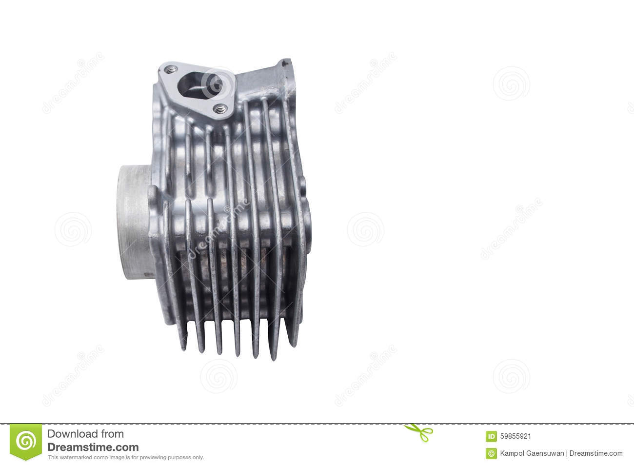 Motorcycle Air Cooled Engine Cylinder Stock Photo
